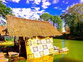 picture of houseboats  - The native houseboat  on the green river in country  thailand - JPG