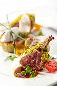 stock photo of lamb chops  - Roasted Lamb Chops with Pistachio - JPG