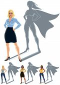 stock photo of ordinary woman  - Conceptual illustration of ordinary woman with superheroine shadow - JPG