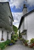stock photo of english cottage garden  - Cottages in the pretty village of Hawkshead - JPG