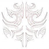 foto of maori  - Maori tribal art tattoo isolated on white - JPG