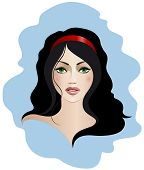 foto of pale skin  - Vector illustration of a brunette with green eyes - JPG