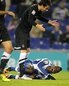 BARCELONA - NOV, 30: Mikel Gozalez(U) of Real Sociedad discuss with Jhon Cordoba(D) of Espanyol duri