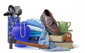 stock photo of gathering  - Assorted household and personal items gathered to sell - JPG