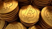 pic of golden coin  - 3D rendered close up illustration of paneled golden Bitcoins group with depth of field blur - JPG