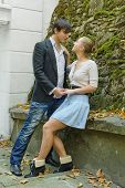 image of encounter  - A romantic encounter of young people in fall time - JPG