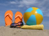 stock photo of beach-ball  - Orange flip - JPG