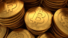 foto of bit coin  - 3D rendered close up illustration of paneled golden Bitcoins group with depth of field blur - JPG