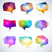 foto of prism  - Set of abstract speech bubbles or talk balloons of polygon prism pattern - JPG