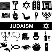picture of synagogue  - Icons collection for judaism on white background - JPG