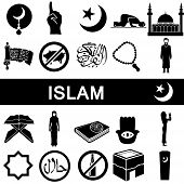image of islamic religious holy book  - Icons collection for islam on white background - JPG