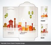 stock photo of hari  - Vector Muslim Mosque Elements Ramadan Money Green Packet Design - JPG