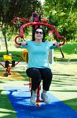 stock photo of lats  - Mature woman exercising on a Lat Pull machine at outdoor fitness circuit in the green sunny park