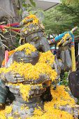 picture of ganesh  - Day Songkran traditions water for Ganesh statue in the temple - JPG