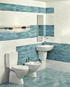 picture of sink  - Interior of modern bathroom with sink and toilet - JPG