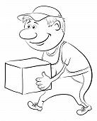 pic of porter  - Men porter in working uniform carries a box - JPG