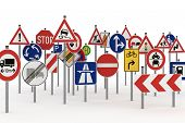 image of no entry  - Too many traffic signs on white background - JPG
