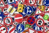 picture of truck-stop  - Many european traffic signs mixed together - JPG