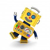 stock photo of fools  - Cute yellow vintage toy robot over white background having fun - JPG