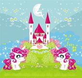 stock photo of unicorn  - Card with a cute unicorns and magical castle  - JPG