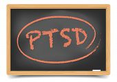 foto of aroused  - detailed illustration of a PTSD term on a blackboard - JPG