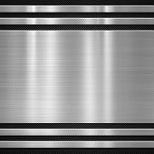 stock photo of titanium  - Metal plate on carbon fibre background or texture - JPG