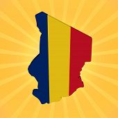 foto of chad  - Chad map flag on sunburst illustration - JPG