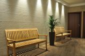 image of work bench  - Empty wooden bench in the waiting room - JPG