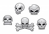 stock photo of skull  - Halloween or Pirate themed skull set with a skull and crossbones and four additional skull designs - JPG