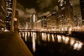 picture of illinois  - Chicago River in Gold. Downtown Chicago Illinois and Chicago River at Night. Browny Gold Color Grading.