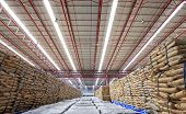 image of sugar industry  - Warehouse and the sugar bag storage row - JPG