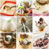 picture of ice cream sundaes  - Beautiful ice cream collage made from nine photograph - JPG