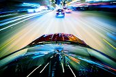 foto of speeding car  - Nightly City Traffic Motion Blurs - JPG