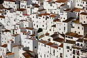 image of pueblo  - View of townhouses pueblo blanco Casares Costa del Sol Malaga Province Andalucia Spain Western Europe - JPG