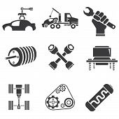 image of overhauling  - set of 9 automotive icons - JPG