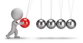 stock photo of pendulum  - 3d small people swaying pendulum Newton - JPG
