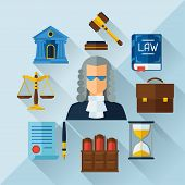 stock photo of tribunal  - Law icons background in flat design style - JPG