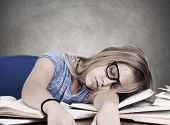 picture of academia  - portrait of girl on desk at school - JPG
