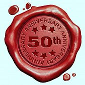 stock photo of 50th  - 50th anniversary fifty year jubilee red wax seal stamp  - JPG