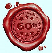 stock photo of credential  - 60th anniversary sixty year jubilee red wax seal stamp  - JPG