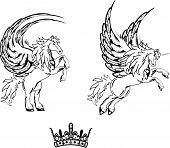 stock photo of pegasus  - pegasus horse sticker tattoo set in vectro format cery easy to edit - JPG