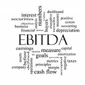 image of amortization  - EBITDA Word Cloud Black and White Concept with great terms such as earnings before taxes interest and more - JPG