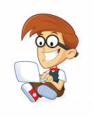 stock photo of dork  - Clipart Picture of a Nerd Geek Cartoon Character with his Laptop - JPG