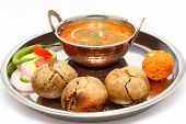 image of rajasthani  - Traditional Rajasthani Food Daal Baati - JPG