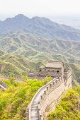 image of qin dynasty  - View of the Great Wall and mountains in China - JPG