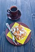 pic of pie-in-face  - apple pie on the plate and coffee in cup - JPG