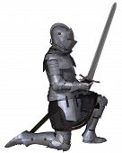 foto of kneeling  - Fifteenth Century late Medieval Knight in Northern Italian Milanese Armour with sword - JPG