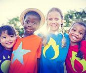 stock photo of bonding  - Children Friendship Bonding Outdoors Cheerful Concept - JPG