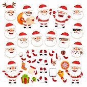 image of sad christmas  - Set of Cartoon Santa Claus for Your Christmas Design or Animation - JPG