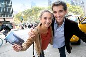 picture of cabs  - Couple having fun in Manhattan - JPG